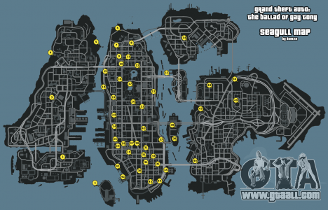 Map of Seagulls GTA 4: The Ballad Of Gay Tony