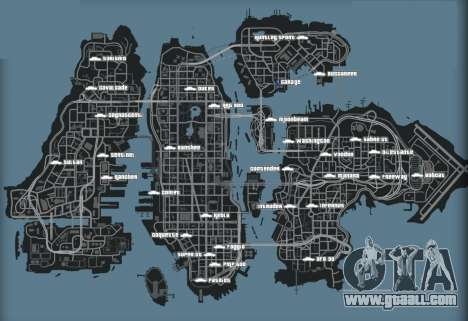 Map of cars in GTA 4
