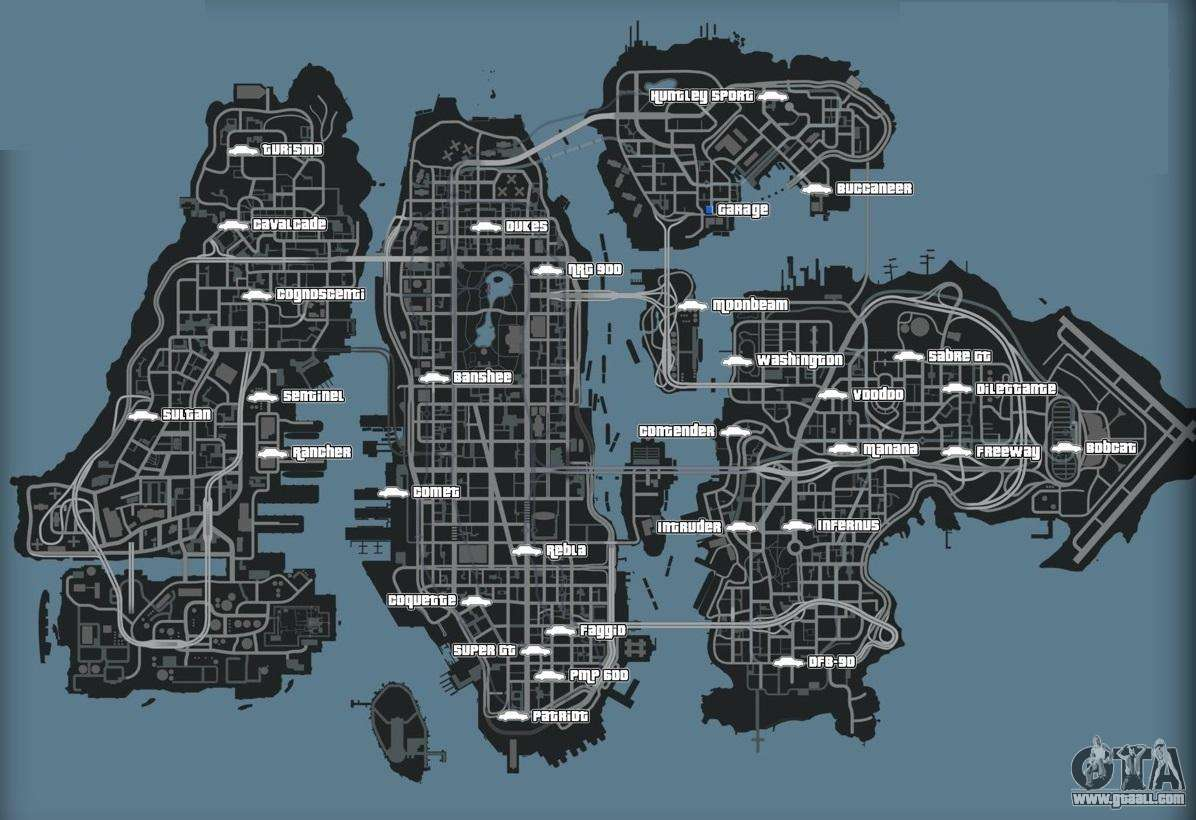 map of cars in gta 4 - Gta 4 Secret Cars Locations Xbox 360
