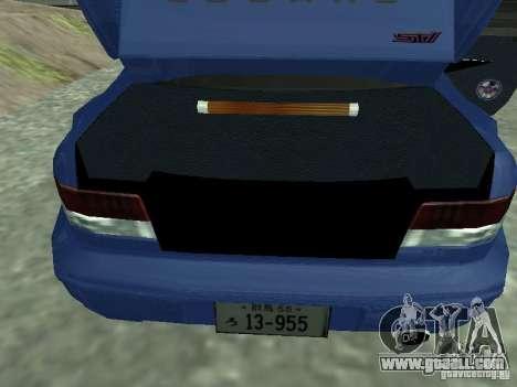 Subaru Impreza 22B STI for GTA San Andreas back view