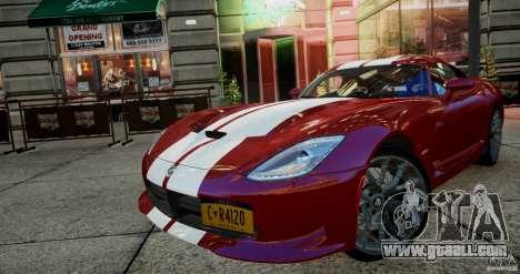 Dodge Viper GTS 2013 for GTA 4 left view