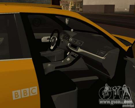 Lexus CT 200h 2011 Taxi for GTA San Andreas inner view