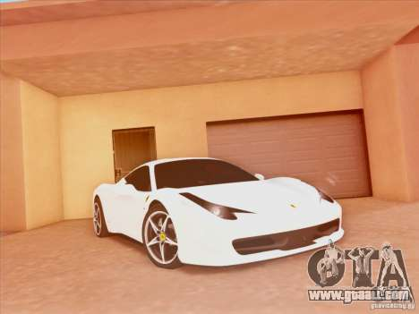 Ferrari 458 2010 for GTA San Andreas back left view