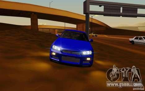 Nissan Skyline R34 GT-R V2 for GTA San Andreas left view