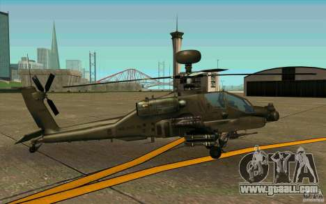 Apache AH64D Longbow for GTA San Andreas back left view