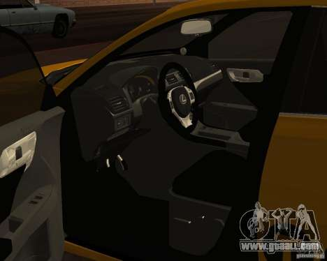 Lexus CT 200h 2011 Taxi for GTA San Andreas back view