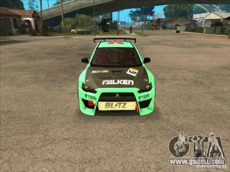 Mitsubishi Evo X Falken for GTA San Andreas back view