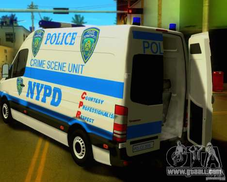 Mercedes Benz Sprinter NYPD police for GTA San Andreas back view