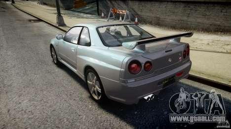 Nissan Skyline GT-R R34 2002 v1 for GTA 4 back left view