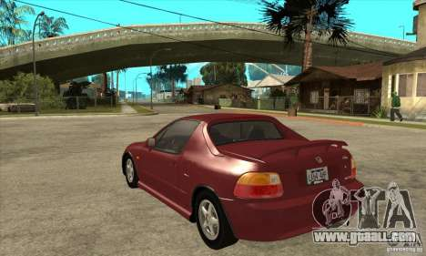 Honda CRX - DelSol for GTA San Andreas back left view