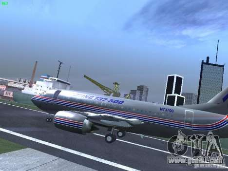 Boeing 737-500 for GTA San Andreas back left view