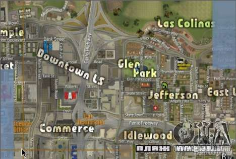 The new map and radar for GTA San Andreas