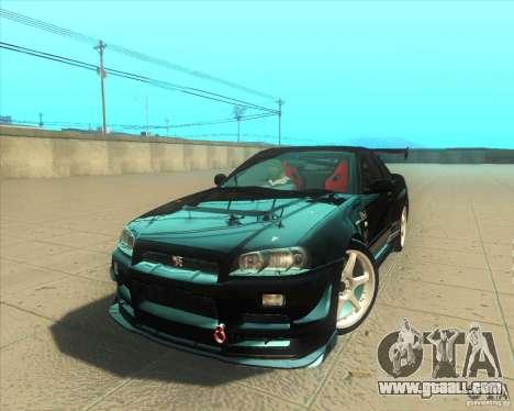 Nissan Skyline GT-R R34 M-Spec Nur for GTA San Andreas engine