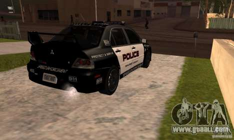 Mitsubishi Lancer Evo VIII MR Police for GTA San Andreas left view
