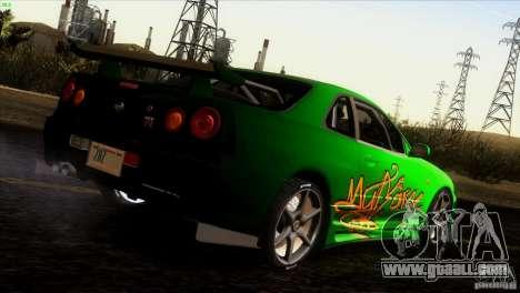 Nissan Skyline R34 Drift for GTA San Andreas engine