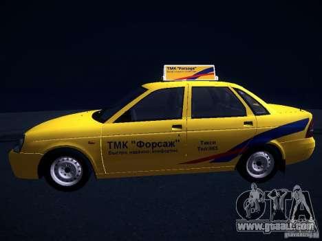 LADA 2170 Priora Taxi TMK Afterburner for GTA San Andreas back view