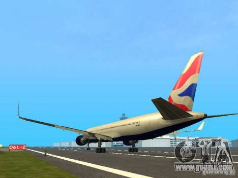Boeing 767-300 British Airways for GTA San Andreas back left view