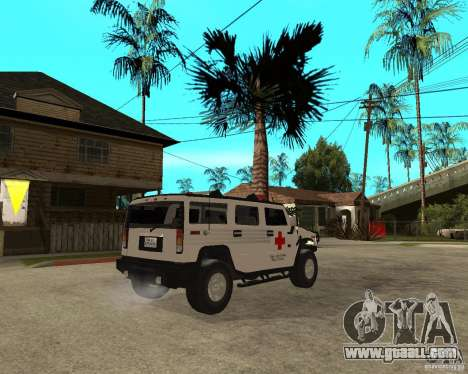 AMG H2 HUMMER - RED CROSS (ambulance) for GTA San Andreas back left view