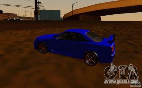 Nissan Skyline R34 GT-R V2 for GTA San Andreas inner view