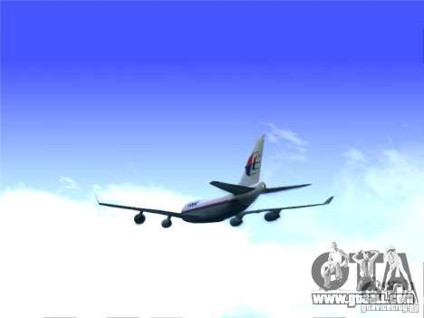 Boeing 747-400 Malaysia Airlines for GTA San Andreas back left view