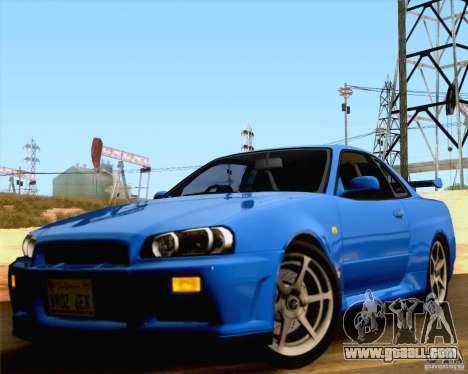 Nissan Skyline R34 for GTA San Andreas back view