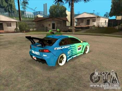Mitsubishi Evo X Falken for GTA San Andreas right view