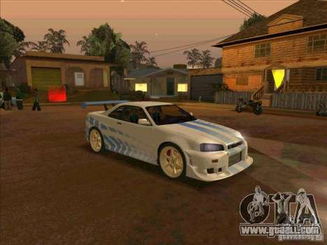 Nissan Skyline GT-R R34 2 Fast 2 Furious for GTA San Andreas right view