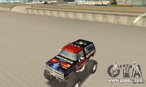 Chevrolet Blazer K5 Monster Skin 5 for GTA San Andreas left view