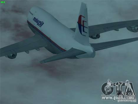Boeing 747-400 Malaysia Airlines for GTA San Andreas upper view