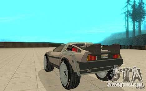 DeLorean DMC-12 (BTTF1) for GTA San Andreas back left view