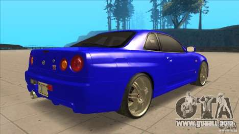 Nissan Skyline R34 FNF4 for GTA San Andreas right view