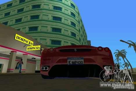 Ferrari F430 Spider 2005 for GTA Vice City right view