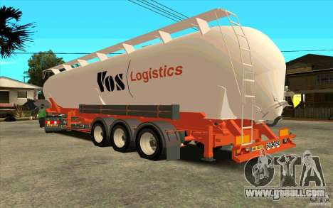 Trailer for Mercedes-Benz Actros for GTA San Andreas back left view