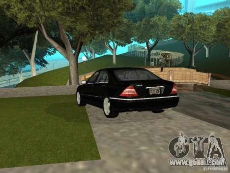 Mercedes-Benz S600 Biturbo 2003 v2 for GTA San Andreas back left view