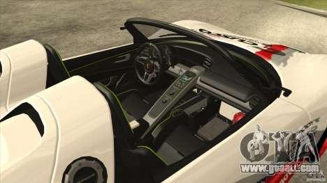 Porsche 918 Spyder Consept for GTA San Andreas inner view
