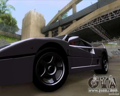 Ferrari F40 for GTA San Andreas back view