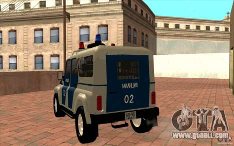 Bobik UAZ-3159 Police v. 2 for GTA San Andreas back left view