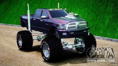 Dodge Ram 3500 2010 Monster Bigfut for GTA 4 back view