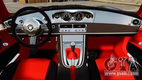 BMW Z8 2000 for GTA 4 inner view