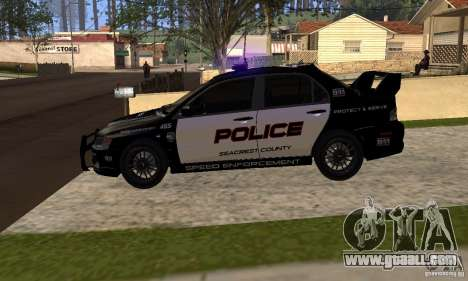 Mitsubishi Lancer Evo VIII MR Police for GTA San Andreas right view