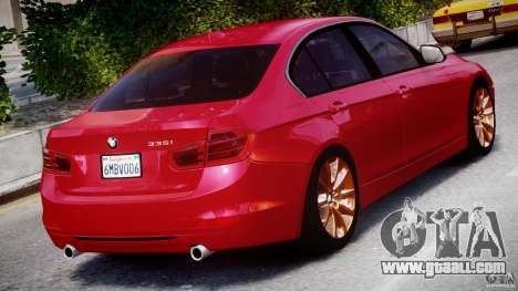 BMW 335i E30 2012 Sport Line v1.0 for GTA 4 upper view