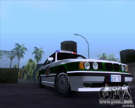 BMW E34 Policija for GTA San Andreas back left view