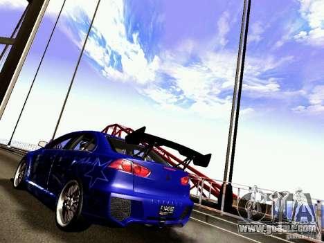 Mitsubishi Lancer EVO X Juiced2 HIN for GTA San Andreas back left view