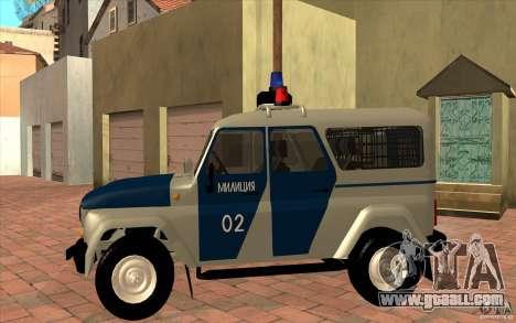 Bobik UAZ-3159 Police v. 2 for GTA San Andreas left view