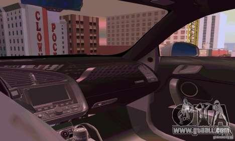 Audi R8 V10 5.2. FSI for GTA San Andreas inner view