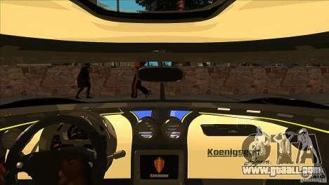 Koenigsegg Agera 2010 for GTA San Andreas interior