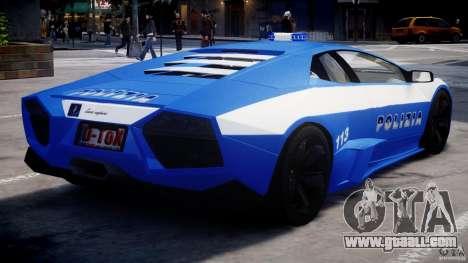 Lamborghini Reventon Polizia Italiana for GTA 4 right view