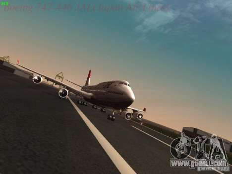 Boeing 747-446 Japan-Airlines for GTA San Andreas back view