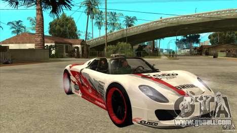 Porsche 918 Spyder Consept for GTA San Andreas back view