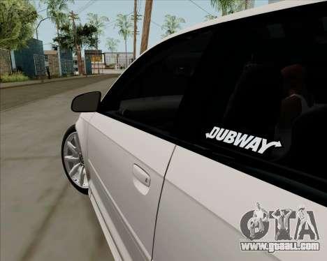Audi S3 V.I.P for GTA San Andreas back view